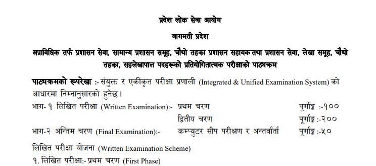 Pradesh Loksewa aayog syllabus :- 4th Level
