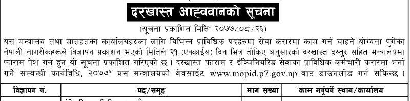Sudurpaschim Province Vacancy for Technical Post
