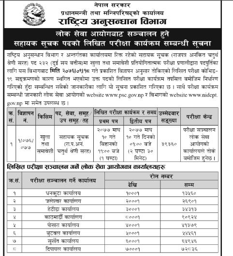 Exam Routine Schedule of  Sahayak Suchak