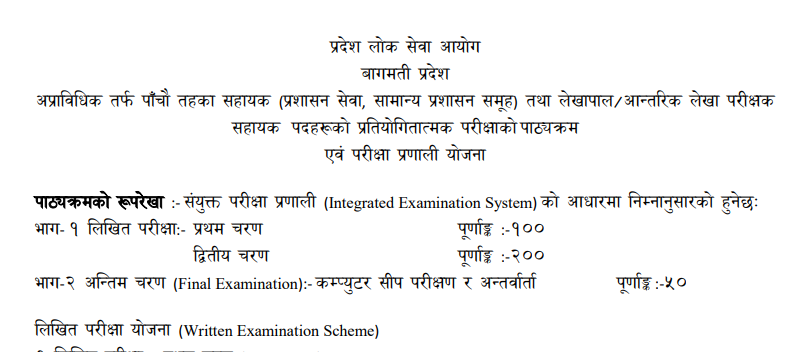 Bagmati Pradesh Loksewa Aayog Syllabus Fifth Level