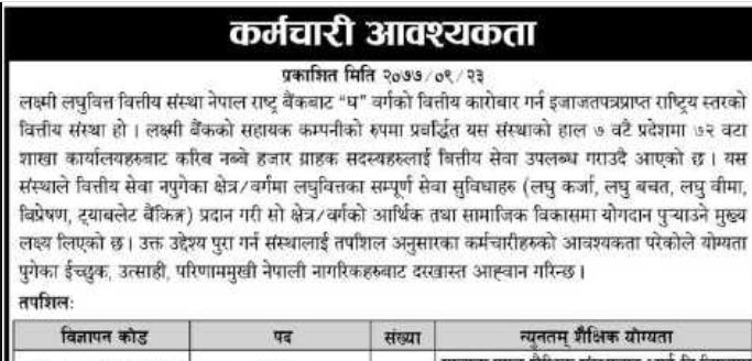 Laxmi Laghubitta Bittiya Sanstha Limited Vacancy