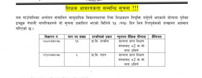 Dharche rural municipality Teacher Vacancy