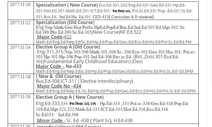 BBS, BA, B.Ed. 3rd Year Exam Routine 2077