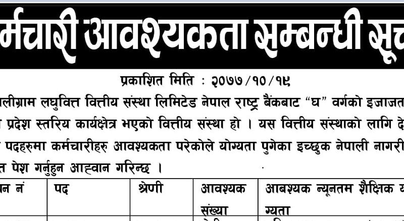 Shaligram Laghubitta Bittiya Sanstha Limited Vacancy
