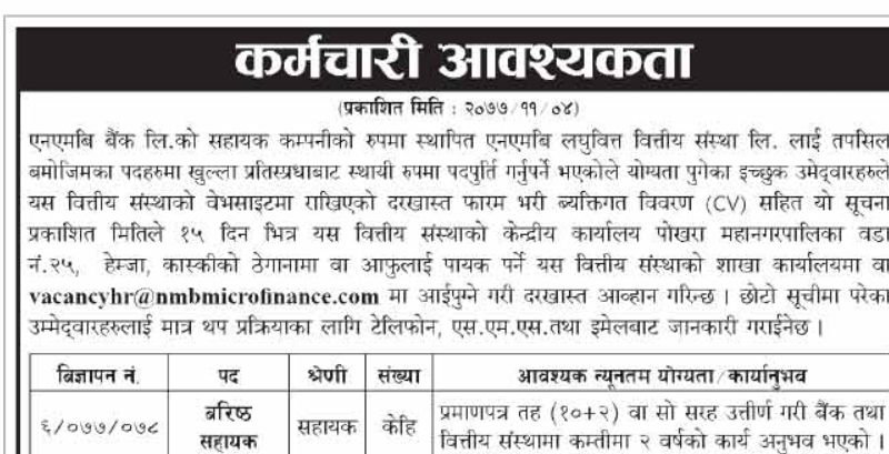 Vacancy Announcement at NMB Laghubitta Bittiya Sanstha Ltd