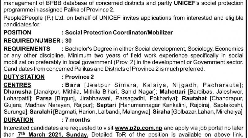 Province 2 Chief Minister Beti Padhau Beti Bachau Program Vacancy for Social Mobilizer