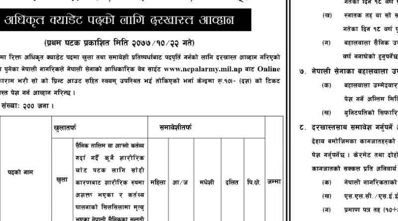 Nepal Army Officer Cadet Vacancy 2077