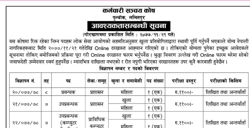 Karmachari Sanchaya Kosh Vacancy 2077