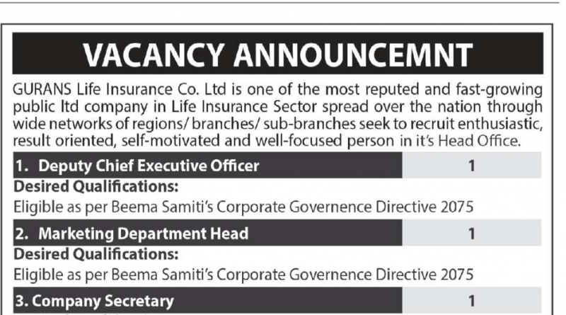 GURANS Life Insurance Vacancy
