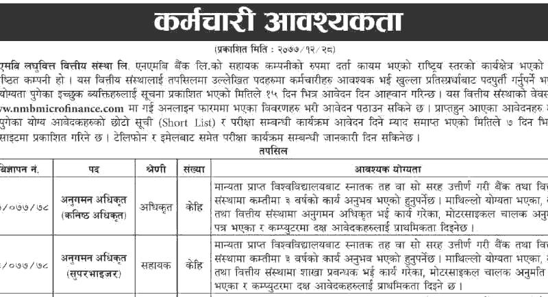 NMB Laghubitta Bittiya Sanstha Vacancy Notice