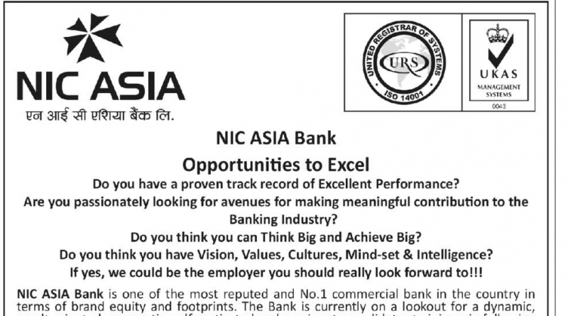 NIC ASIA Bank Vacancy Notice For Trainee Assistant