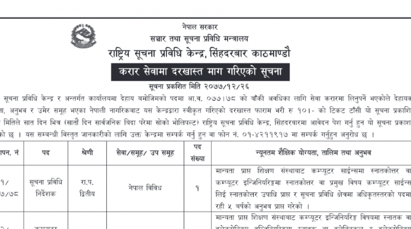 Rastriya Suchana Prabidhi Kendra Vacancy Notice