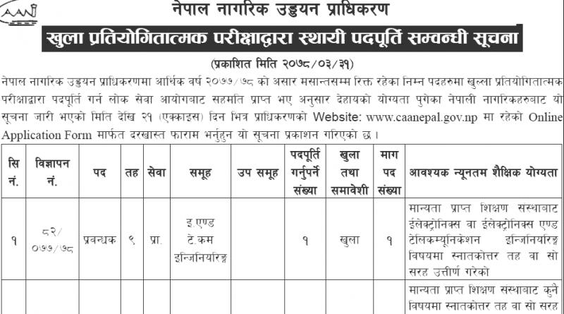 Nagarik Uddyan Pradhikaran Vacancy