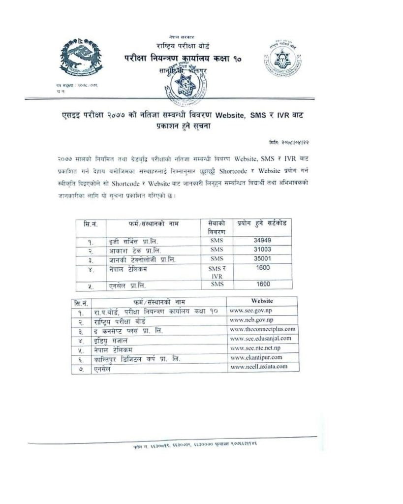 Check SEE Result 2078 With Marksheet