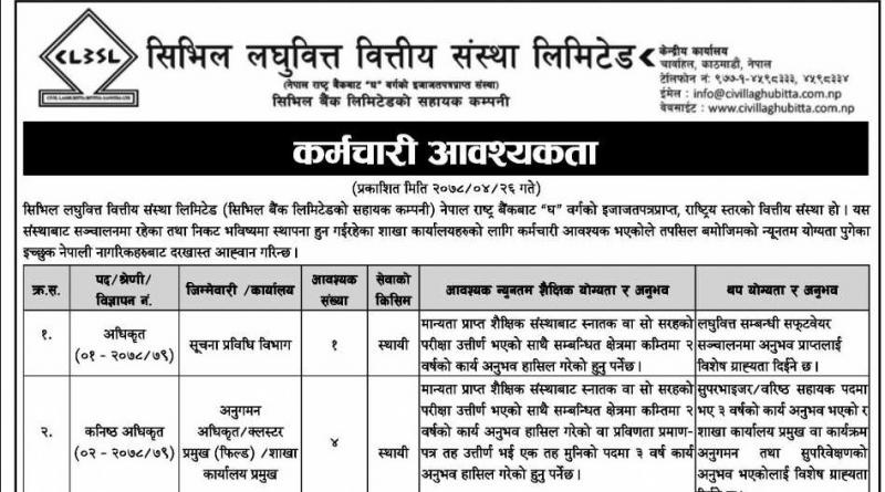 Civil Laghubitta vacancy : Banking Vacancy