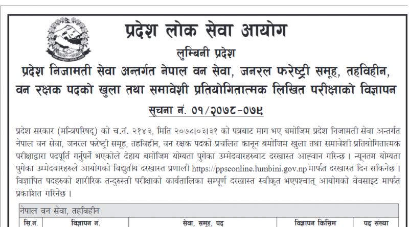 Lumbini Pradesh Loksewa aayog Vacancy : Pradesh Loksewa
