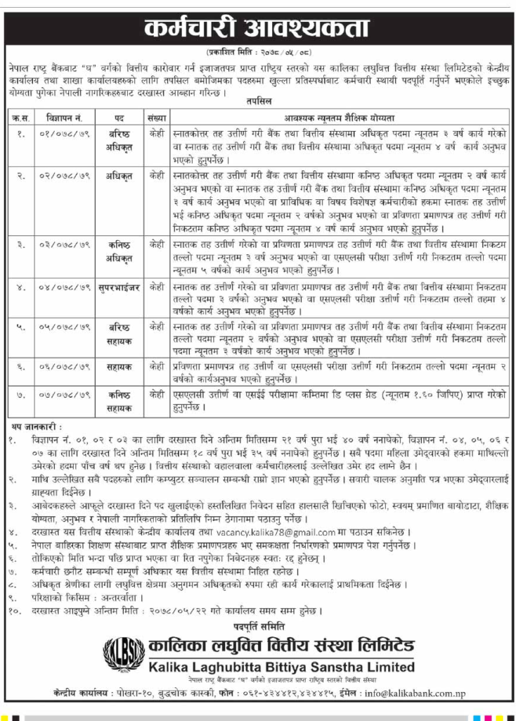 Kalika Laghubitta Bittiya Sanstha Limited vacancy
