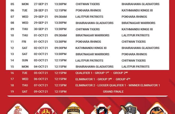 EPL - Everest Premier League 2021 Fixture